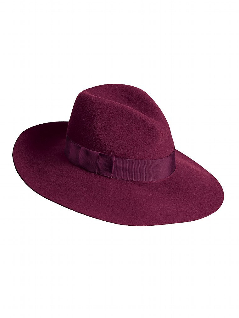 We're loving the rich merlot-hued jewel tone (not to mention mixed up in a wool finish) of this classic Victoria's Secret fedora ($39).