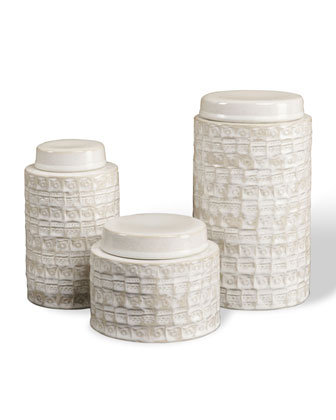 The ceramic Three Worsley Tea Jars ($275) have a rich, textured surface.