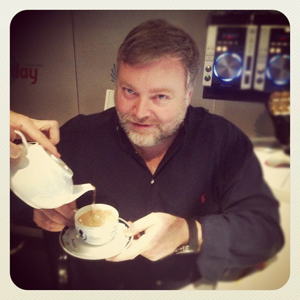 Kyle Sandilands has given up coffee and is now drinking tea. Source: Instagram user kyleandjackieo