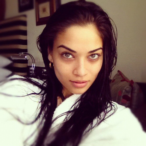 Aussie model Shanina Shaik went barefaced and beautiful in a fluffy white robe. Source: Instagram user shaninamshaik