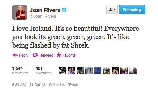 Only Joan Rivers could compare pretty Ireland to fat Shrek and have it make sense.