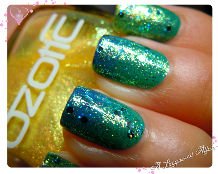 OZOTIC Sugar 904 over Ulta3 Pacific Fever-Blue Marlin gradient, with L.A.Girl Nostalgic