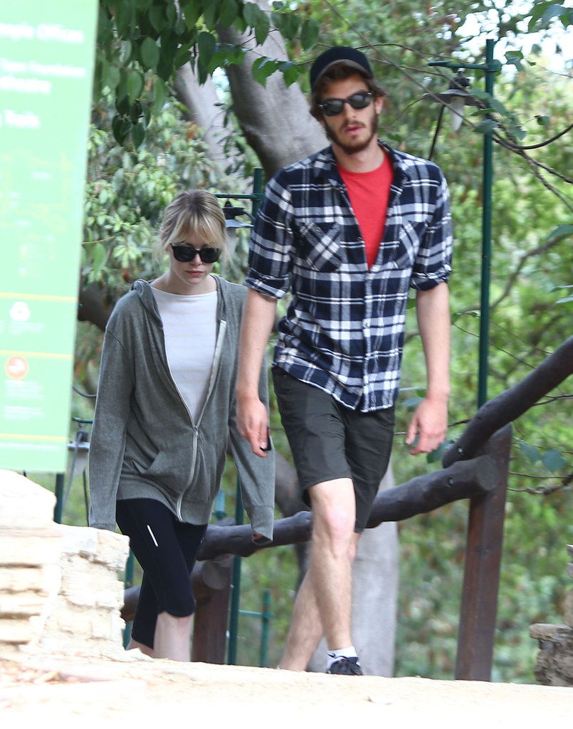 Andrew Garfield and Emma Stone went for a hike at Wilacre Park in LA yesterday.