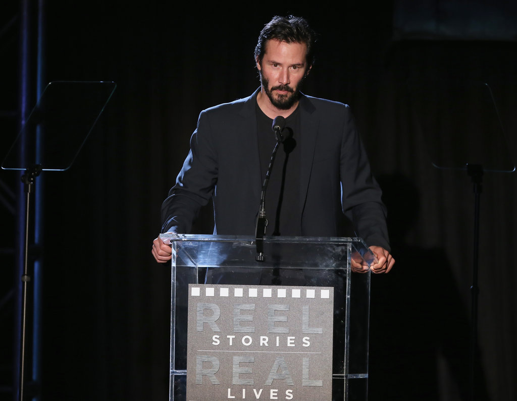 Keanu Reeves spoke at the Reel Stories, Real Lives event in LA.