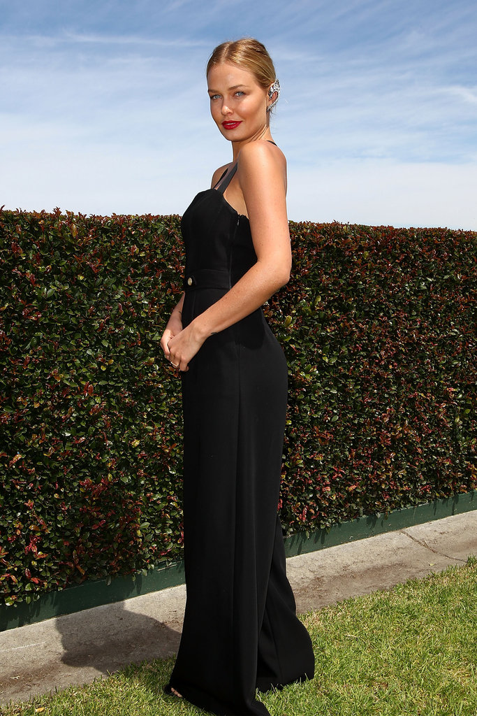 Lara Bingle wore a black Camilla and Marc pantsuit.
