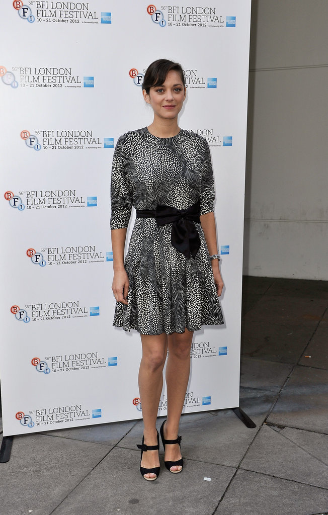 Marion Cotillard wore a printed dress to attend a screen talk in London.