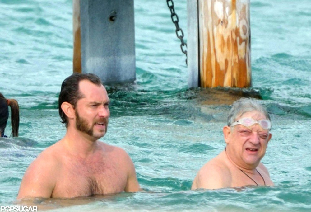 Jude Law enjoyed a swim in the South of France.