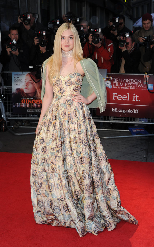Elle Fanning drew all eyes at the Ginger & Rosa premiere with her floral-print Rochas gown. She offset the strapless neckline with a delicate lace choker.