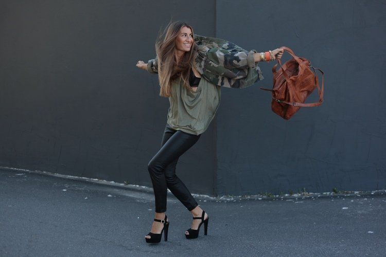 File this under perfect ways to wear camo: channel the trend with a cool anorak, then add in contrasting pieces like slick leather bottoms and heels. Source: Lookbook.nu