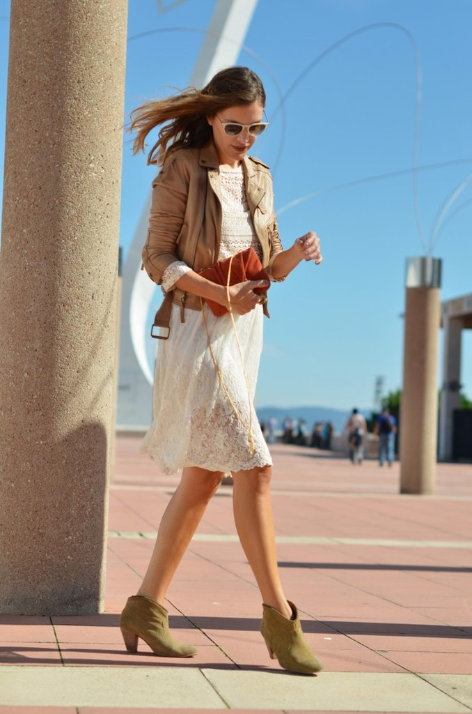 Give white lace a twist with a buttery leather topper and a pair of booties. Source: Lookbook.nu