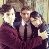 Penn Badgley, Chace Crawford, and Michelle Trachtenberg palled around between takes. Source: Instagram user kellyrutherford