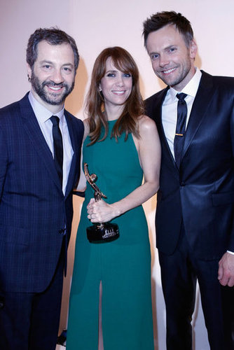 Judd Apatow, Kristen Wiig and Joel Mchale  posed for photos at the Elle Women in Hollywood Awards in LA.
