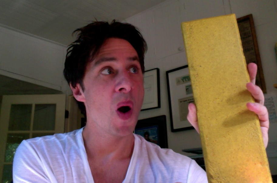 Zach Braff showed off his piece of the Yellow Brick Road from the set of Oz: The Great and Powerful. Source: Twitter user zachbraff