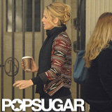 Blake Lively sipped a coffee on set.