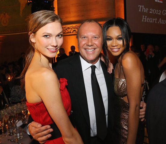 Michael Kors and Chanel Iman posed for photos at the Golden Heart Gala in NYC.