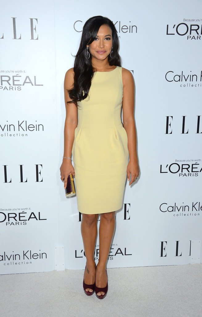 Naya Rivera chose an understated, lemon-hued sheath with a ladylike cinched waist and peep-toe burgundy pumps to finish it off.
