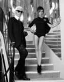 Victoria Beckham posed with Karl Lagerfeld for Elle France.
