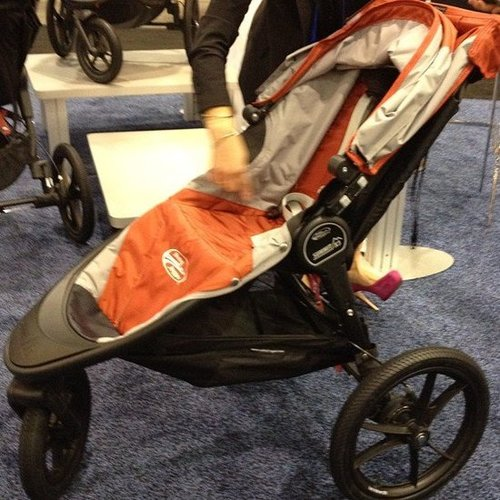 The Baby Jogger Summit X3 improves upon the company's popular jogging strollers. Wider and taller than its predecessor, the stroller features more headroom for older tots. It also has a remote swivel wheel lock so mom doesn't have to get on her hands and knees to lock it into jogging mode. The stroller should be available this Spring.