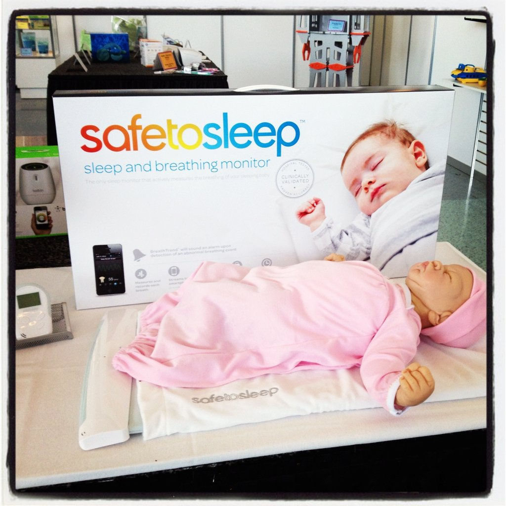 SafeToSleep is a sleep and breathing monitor that monitors each breath baby takes in her crib. The data is streamed to mom's smartphone.