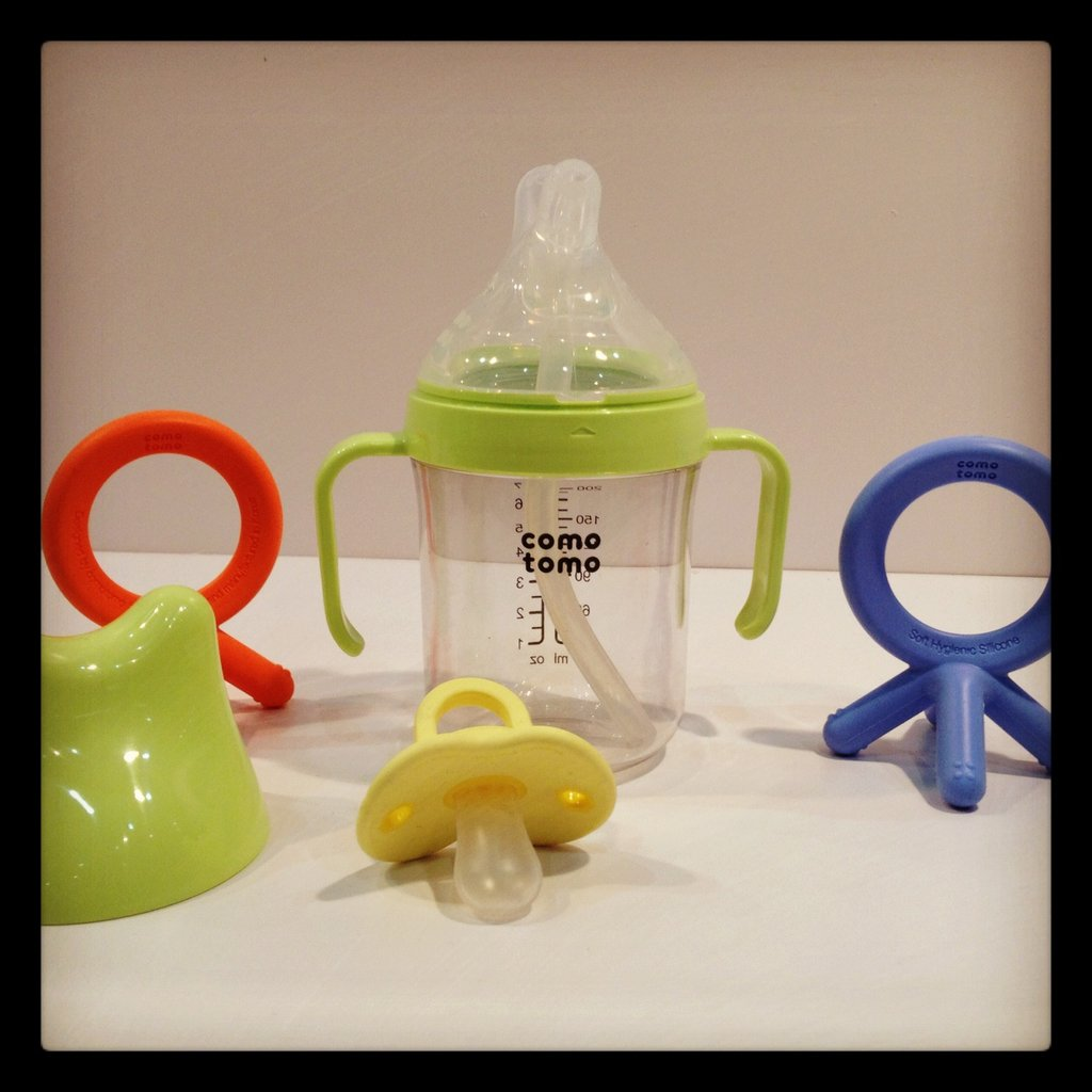 Como Tomo is expanding into the teether, pacifier, and sippy cup world. Its sippy cup will feature a double spout —one with a straw, and one that is simply a spout.