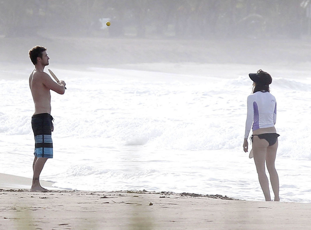 Justin Timberlake and Jessica Biel hit the beach in Puerto Rico to play paddleball in July 2012.