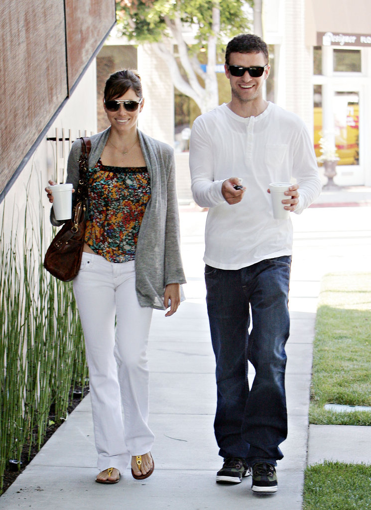 Jessica Biel and Justin Timberlake couldn't contain their smiles while out in LA in August 2008.