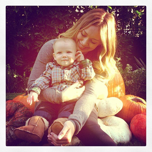 Hilary Duff spent time at the pumpkin patch with her little guy, Luca Comrie.  Source: Instagram user hilaryduff