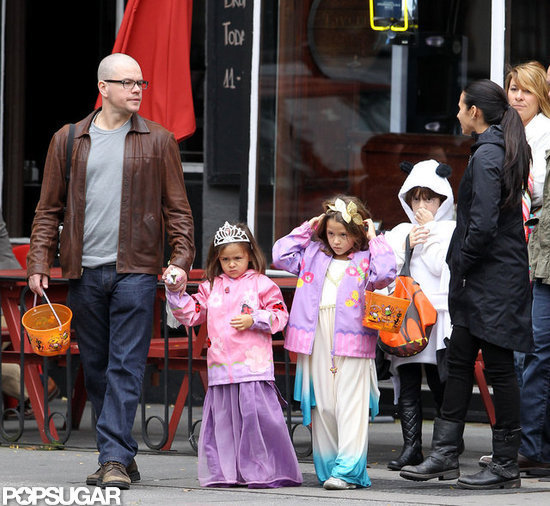 Matt Damon and his family went trick-or-treating in NYC.