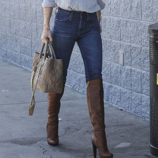January Jones Wearing Tan Boots