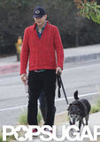 Ashton Kutcher walked his dog with Mila Kunis in LA.