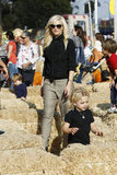 Gwen Stefani and Zuma Rossdale explored the pumpkin patch.