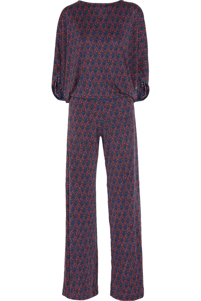 Issa's Printed Silk-Jersey Jumpsuit ($975) can easily be worn for office parties and family fetes.