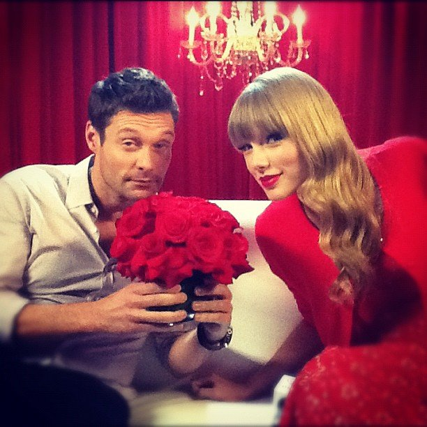 Ryan Seacrest took a moment to smell the roses with pal Taylor Swift. Source: Instagram user ryanseacrest