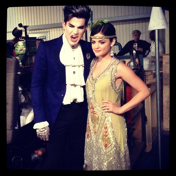 Lucy Hale posed with Adam Lambert, who is guest starring on Pretty Little Liars' Halloween episode. Source: Instagram user lucyhale89