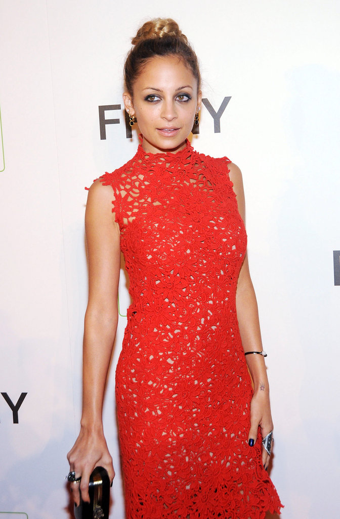 Nicole Richie wore her hair in a high bun for the occasion.