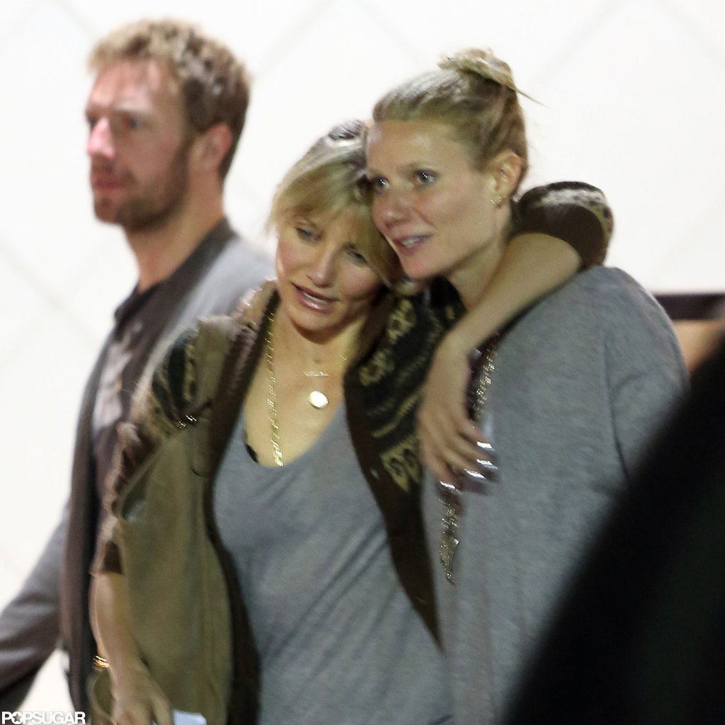 Gwyneth Paltrow and Cameron Diaz shared a moment after dinner.