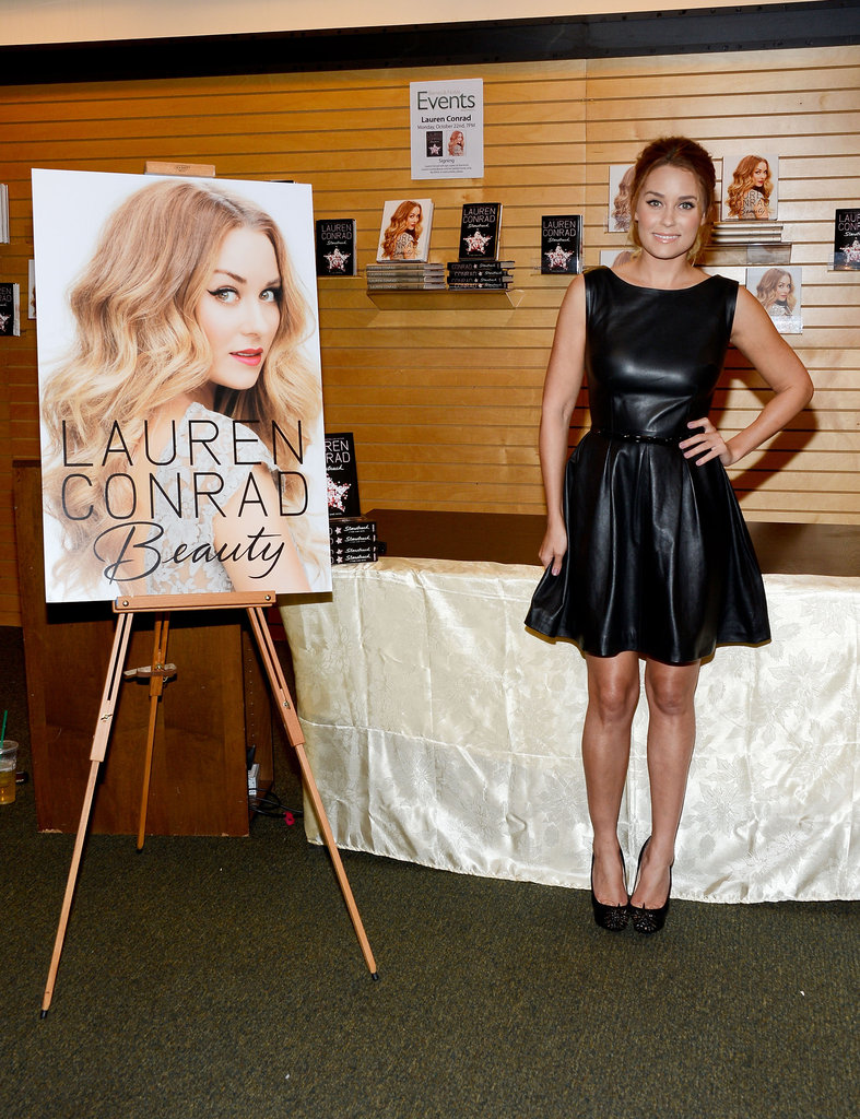 Lauren Conrad sported a short, black leather dress at a Barnes & Noble in LA.