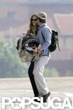 In May 2008, Julia Roberts and husband Danny Moder arrived in Rome with baby Henry.