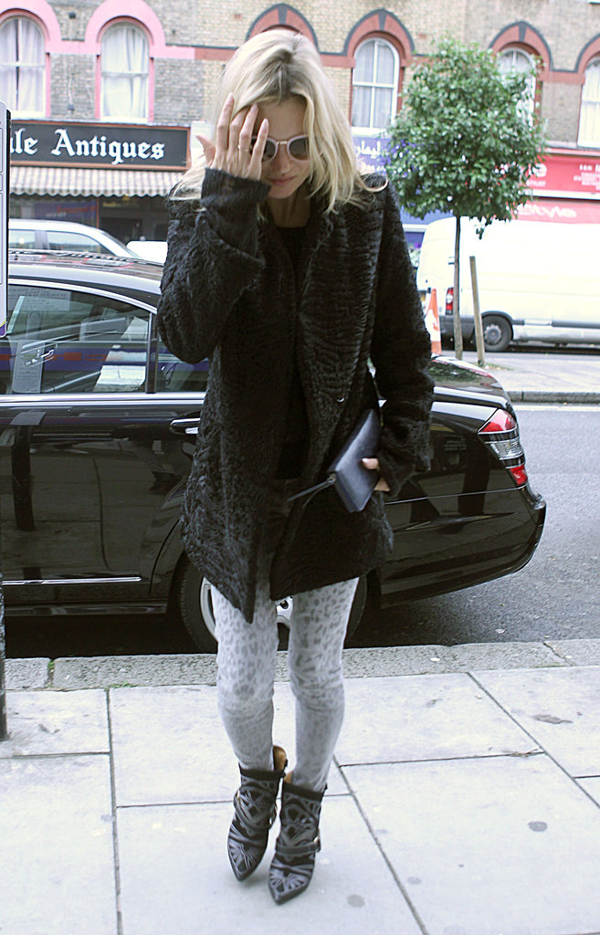 Kate Moss stopped for a movie in London.