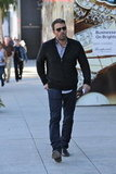 Ben Affleck passed by luxury stores.
