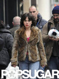 Scarlett Johansson wore a brunette wig and fur jacket to film for Under the Skin in Scotland.