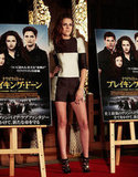 Kristen Stewart posed with movie posters at a Breaking Dawn — Part 2 event in Japan.