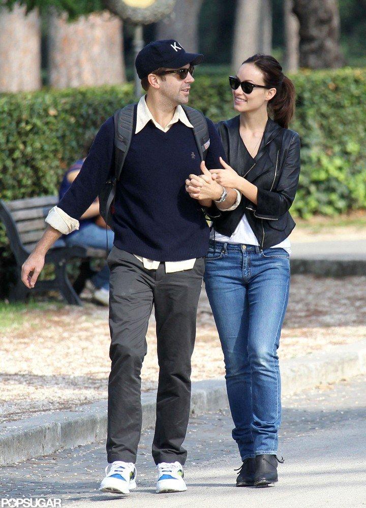 Olivia Wilde and Jason Sudeikis kept close on their walk.
