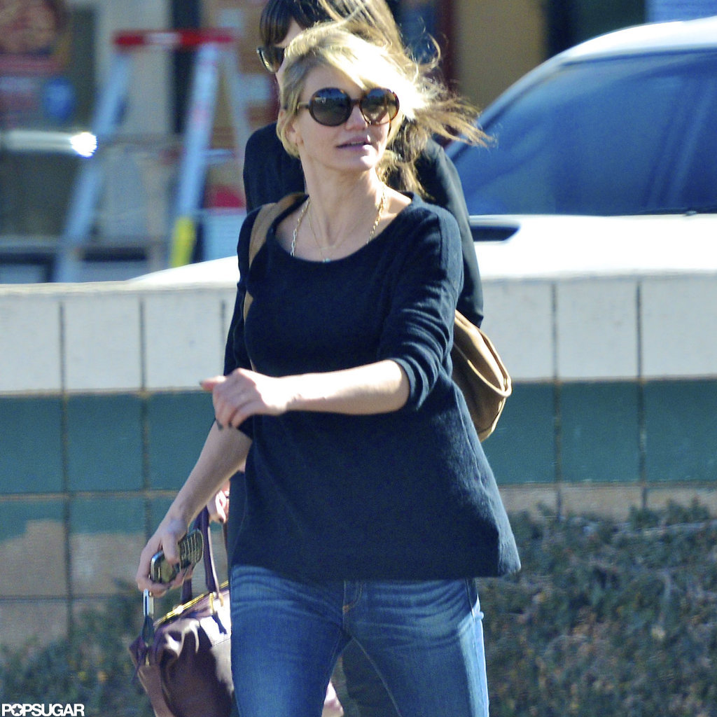Cameron Diaz wore a black sweater to lunch.