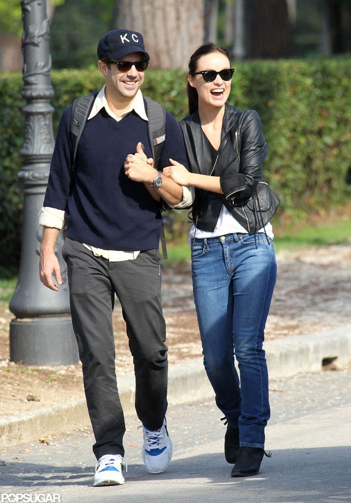 Olivia Wilde and Jason Sudeikis laughed at they made their way through Rome.