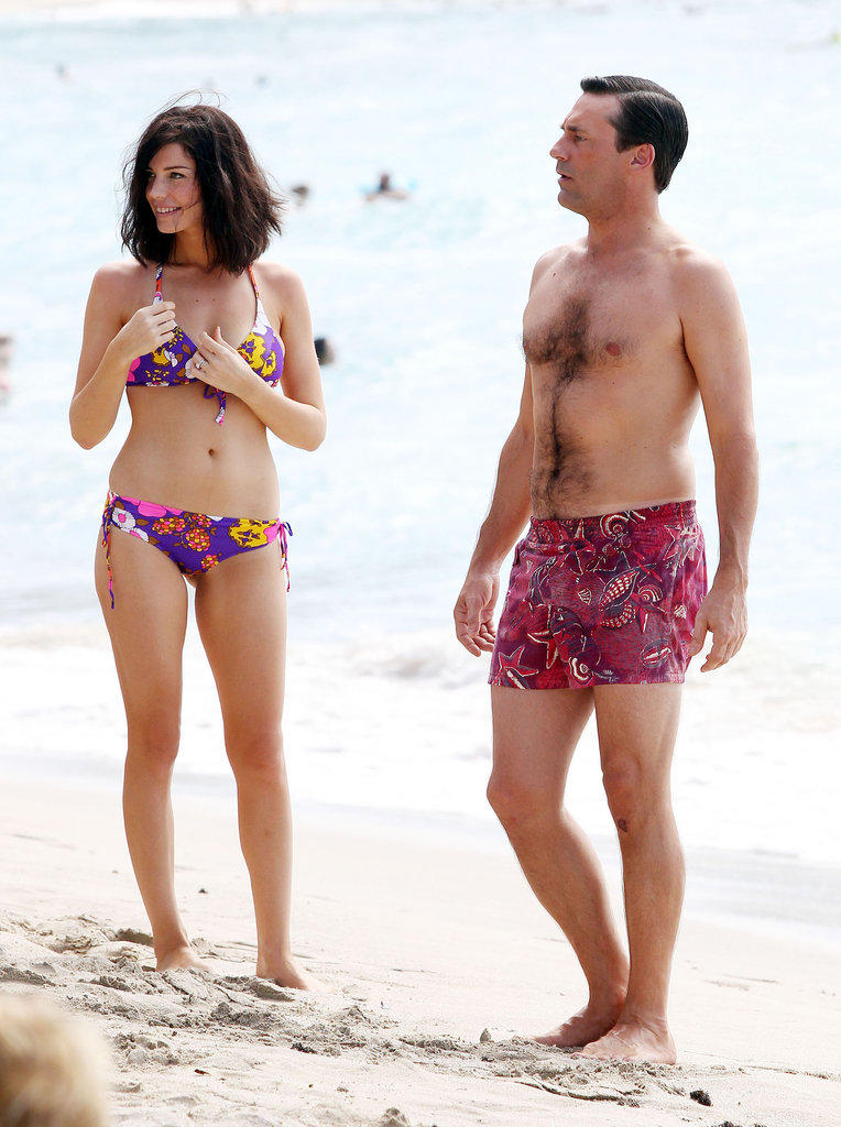 Jon Hamm and Jessica Paré filmed Mad Men.