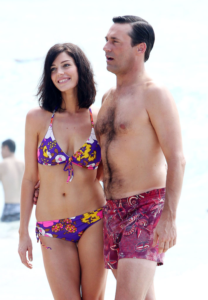 Jon Hamm and Jessica Paré were on the beach in Maui.