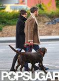 Anne Hathaway and Adam Shulman walked their dog in Brooklyn.