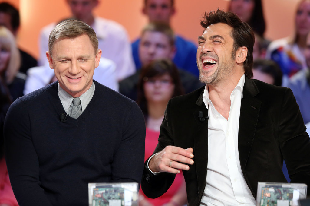 Daniel Craig and Javier Bardem attend an event to promote Skyfall in Paris.