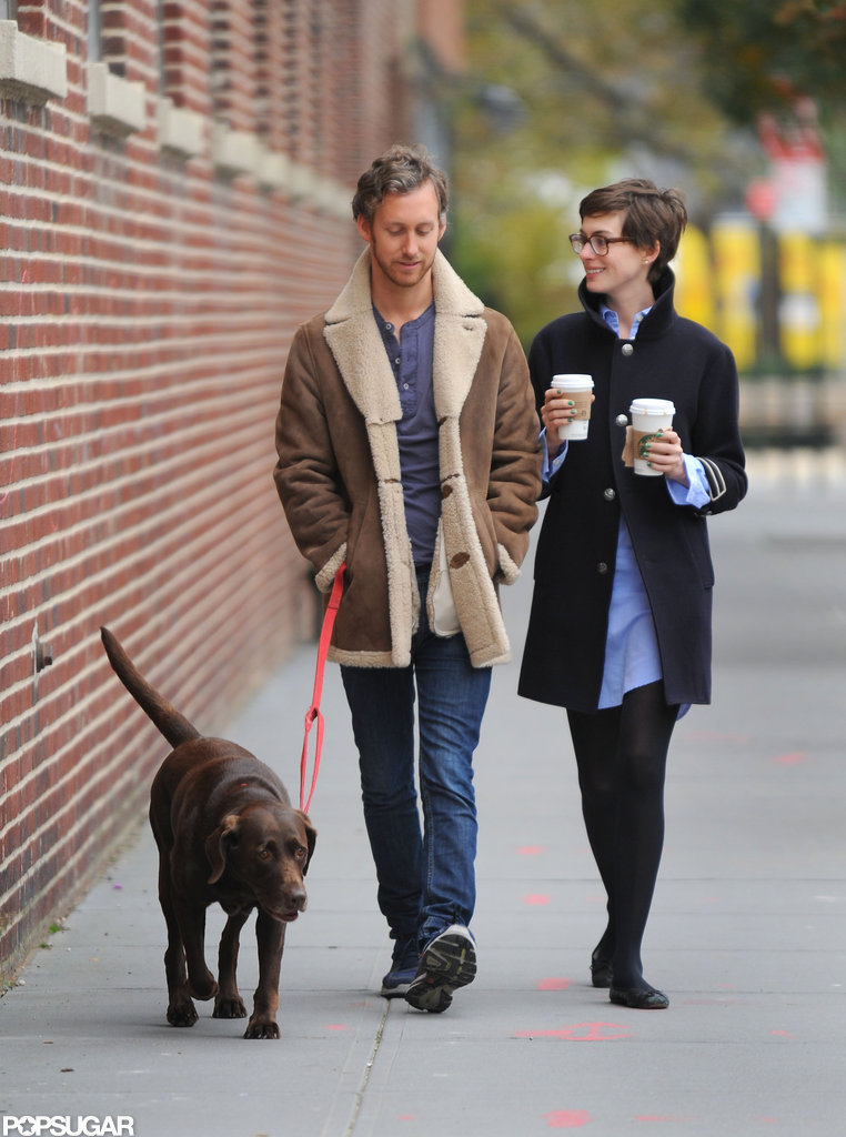 Anne Hathaway and husband Adam Shulman walked their dog together in Brooklyn.